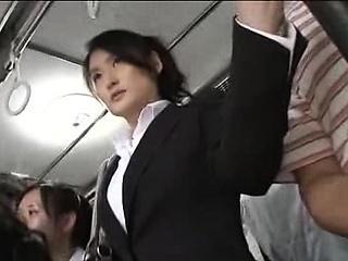 Japanese public bus blowjob and fianc'