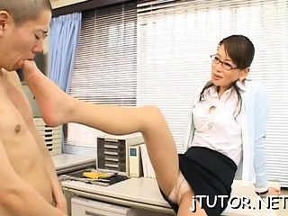 Charming instructor anfractuosities down to shows off her detailed cleavage