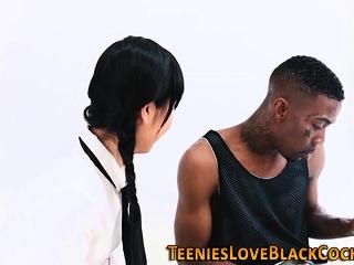 Asian teen takes facial