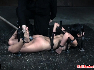 Cute asian sub gets her pussy toyed overwrought master