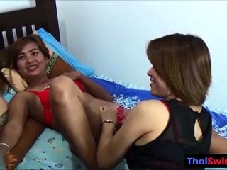 Team a few real amateur hot Thai teen give a helping hand