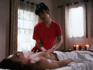 Busty asian masseuse licks and facesits her horny customer